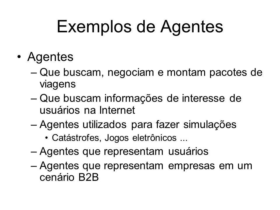 Exemplos de Agentes Agentes –Que buscam, negociam e montam pacotes de viagens –Que buscam informações de interesse de usuários na Internet –Agentes ut
