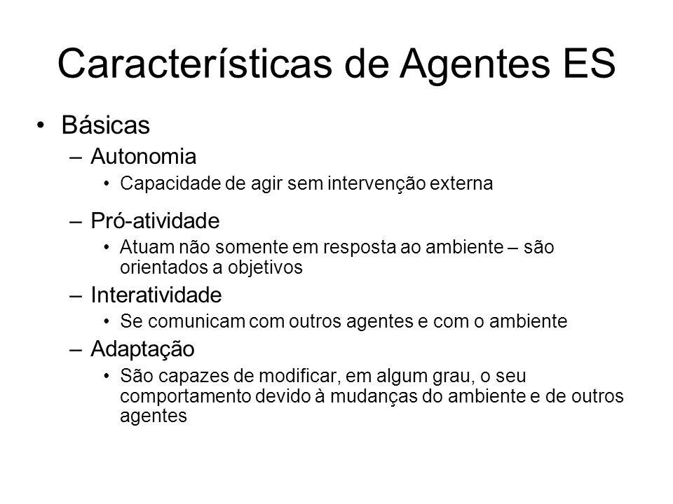 Características de Agentes ES Básicas –Autonomia Capacidade de agir sem intervenção externa –Pró-atividade Atuam não somente em resposta ao ambiente –