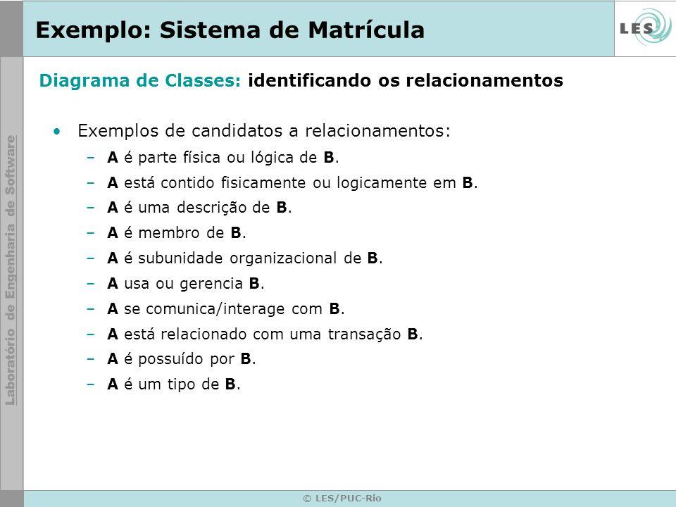 © LES/PUC-Rio Exemplo: Sistema de Matrícula Exemplos de candidatos a relacionamentos: –A é parte física ou lógica de B. –A está contido fisicamente ou