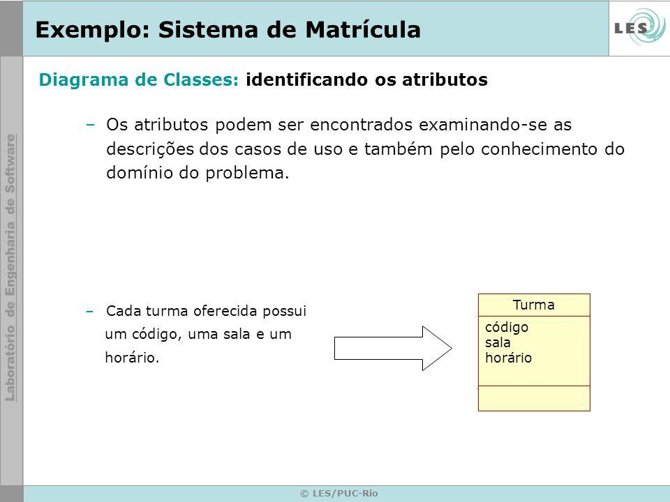© LES/PUC-Rio Exemplo: Sistema de Matrícula –Os atributos podem ser encontrados examinando-se as descrições dos casos de uso e também pelo conheciment
