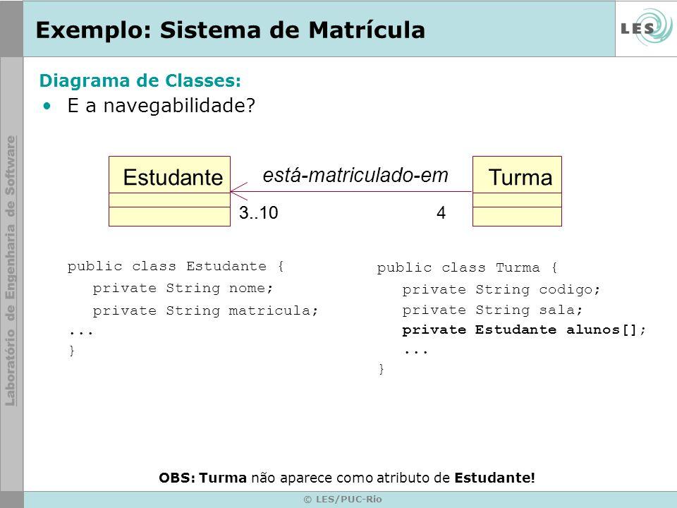 © LES/PUC-Rio Exemplo: Sistema de Matrícula E a navegabilidade? public class Turma { private String codigo; private String sala; private Estudante alu