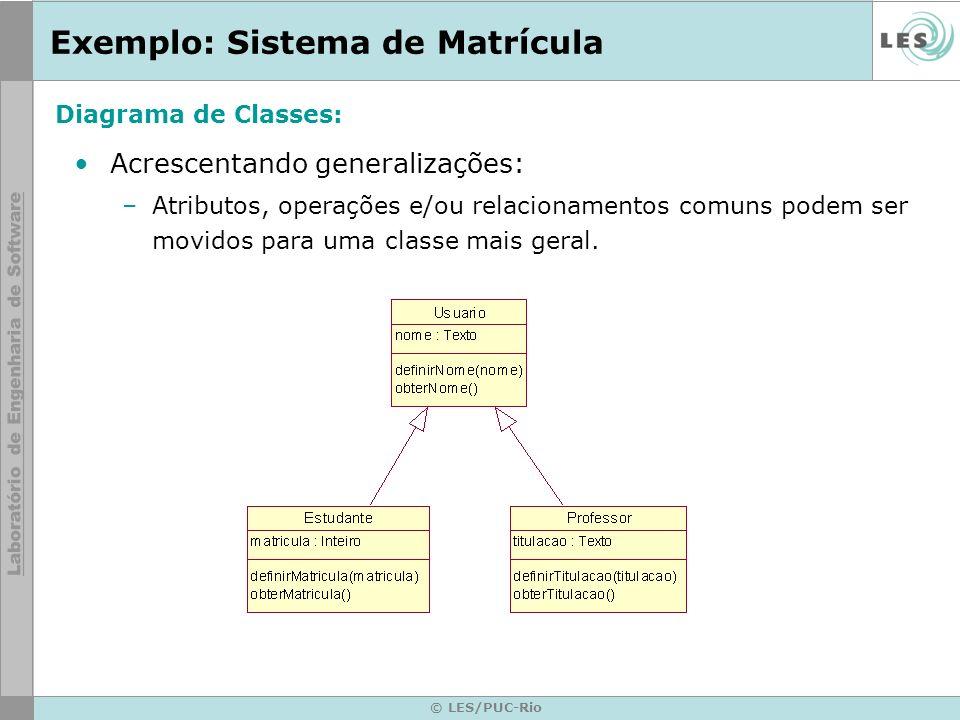© LES/PUC-Rio Exemplo: Sistema de Matrícula Acrescentando generalizações: –Atributos, operações e/ou relacionamentos comuns podem ser movidos para uma