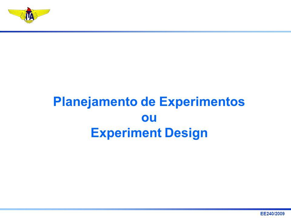 EE240/2009 Planejamento de Experimento: selecionar fatores manipuláveis x 1,...,x p e determinar formas de utilizá-los em experimentos, de modo que sejam obtidas informações suficientes sobre o processo com pequeno número de ensaios.