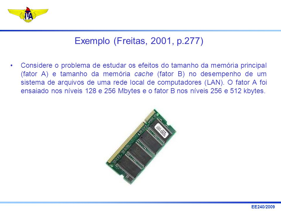 EE240/2009 Exemplo (Freitas, 2001, p.277) Considere o problema de estudar os efeitos do tamanho da memória principal (fator A) e tamanho da memória ca
