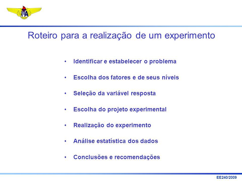 EE240/2009 Conceitos Importantes Níveis: valores que podem ser assumidos por cada fator manipulável Tratamentos: uma particular combinação de níveis dos fatores incluídos no estudo experimental.