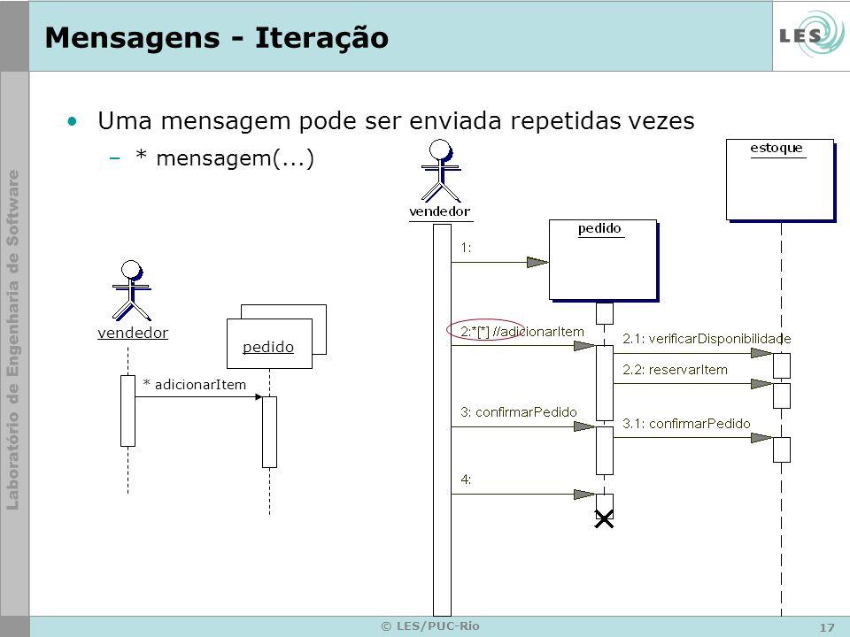 17 © LES/PUC-Rio Mensagens - Iteração Uma mensagem pode ser enviada repetidas vezes –* mensagem(...) * adicionarItem pedido vendedor