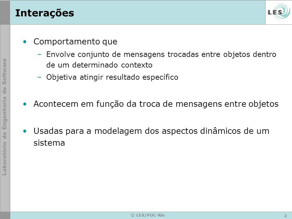 2 © LES/PUC-Rio Interações Comportamento que –Envolve conjunto de mensagens trocadas entre objetos dentro de um determinado contexto –Objetiva atingir