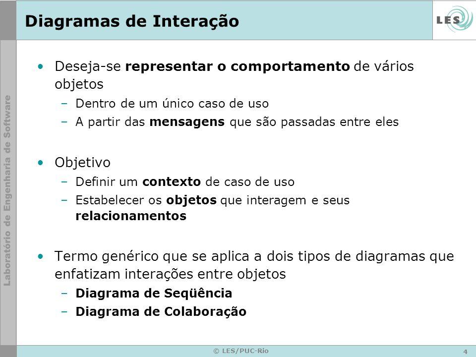 4 © LES/PUC-Rio Diagramas de Interação Deseja-se representar o comportamento de vários objetos –Dentro de um único caso de uso –A partir das mensagens