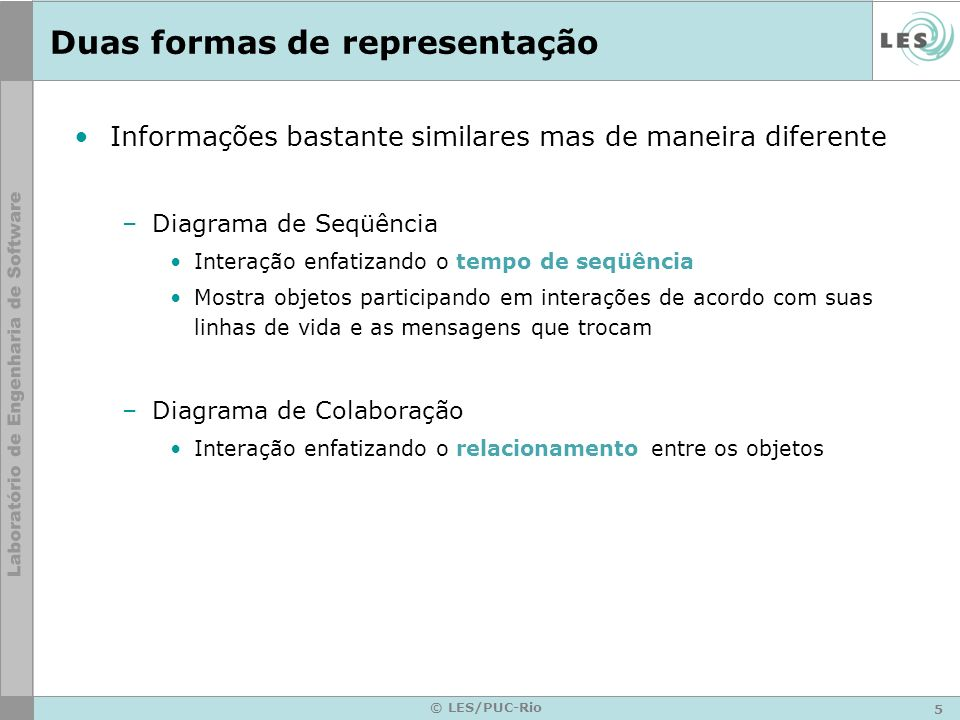 5 © LES/PUC-Rio Duas formas de representação Informações bastante similares mas de maneira diferente –Diagrama de Seqüência Interação enfatizando o te