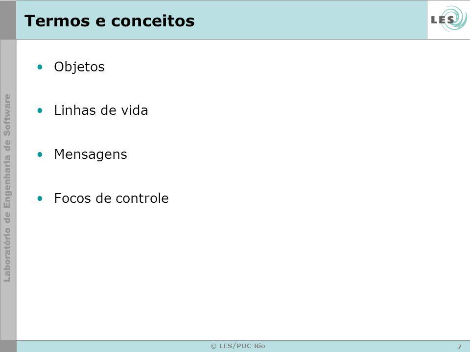 7 © LES/PUC-Rio Termos e conceitos Objetos Linhas de vida Mensagens Focos de controle