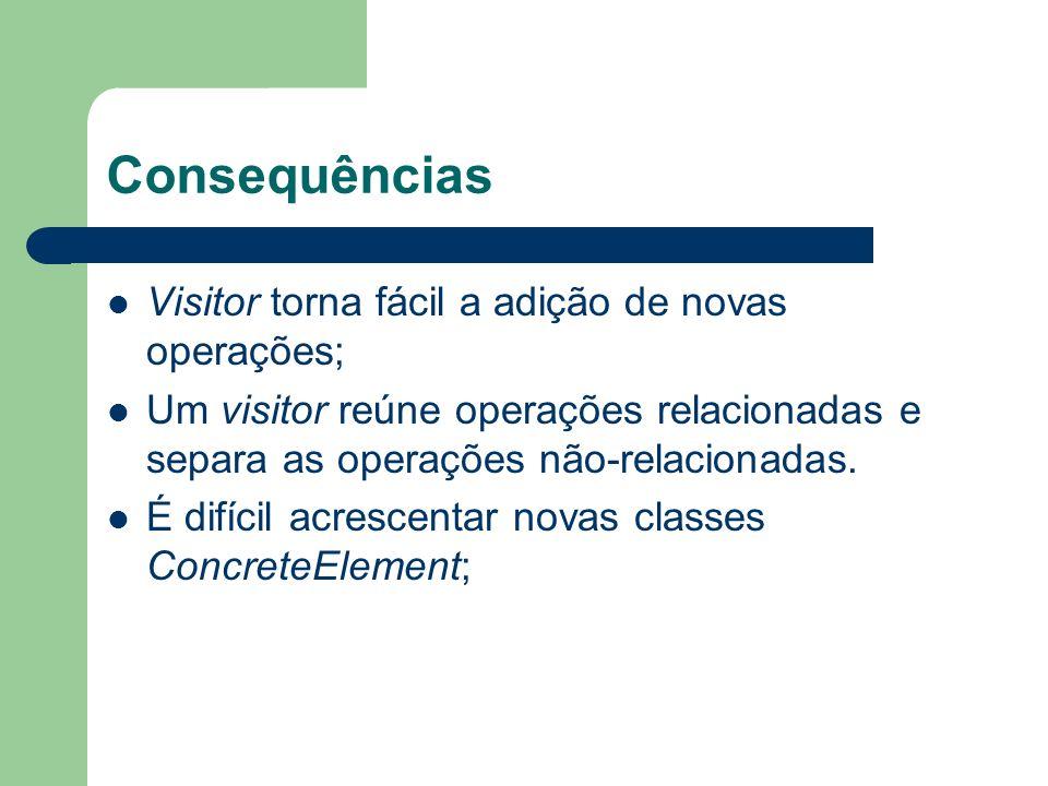 Consequências Visitor torna fácil a adição de novas operações; Um visitor reúne operações relacionadas e separa as operações não-relacionadas. É difíc