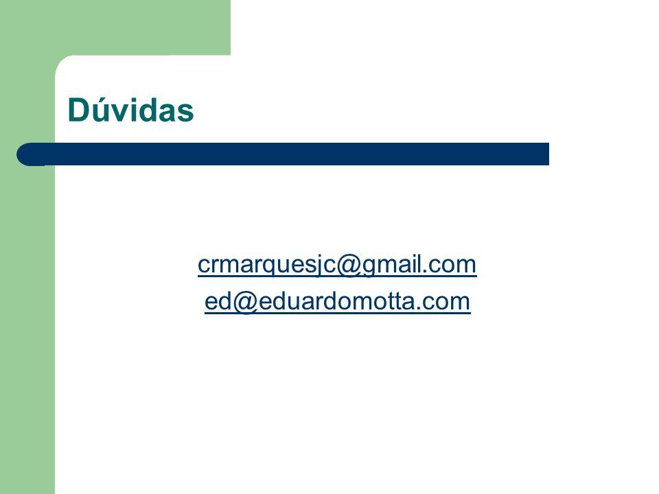 Dúvidas crmarquesjc@gmail.com ed@eduardomotta.com