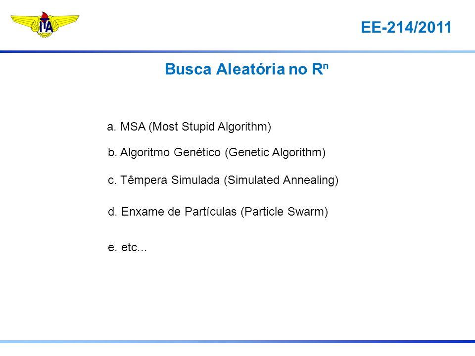 EE-214/2011 Busca Aleatória no R n a. MSA (Most Stupid Algorithm) b. Algoritmo Genético (Genetic Algorithm) c. Têmpera Simulada (Simulated Annealing)