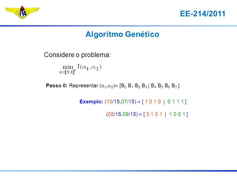 EE-214/2011 Algoritmo Genético Considere o problema: Passo 0: Representar ( 1, 2 ) [B 0 B 1 B 2 B 3 | B 4 B 5 B 6 B 7 ] Exemplo: (10/15,07/15) [ 1 0 1