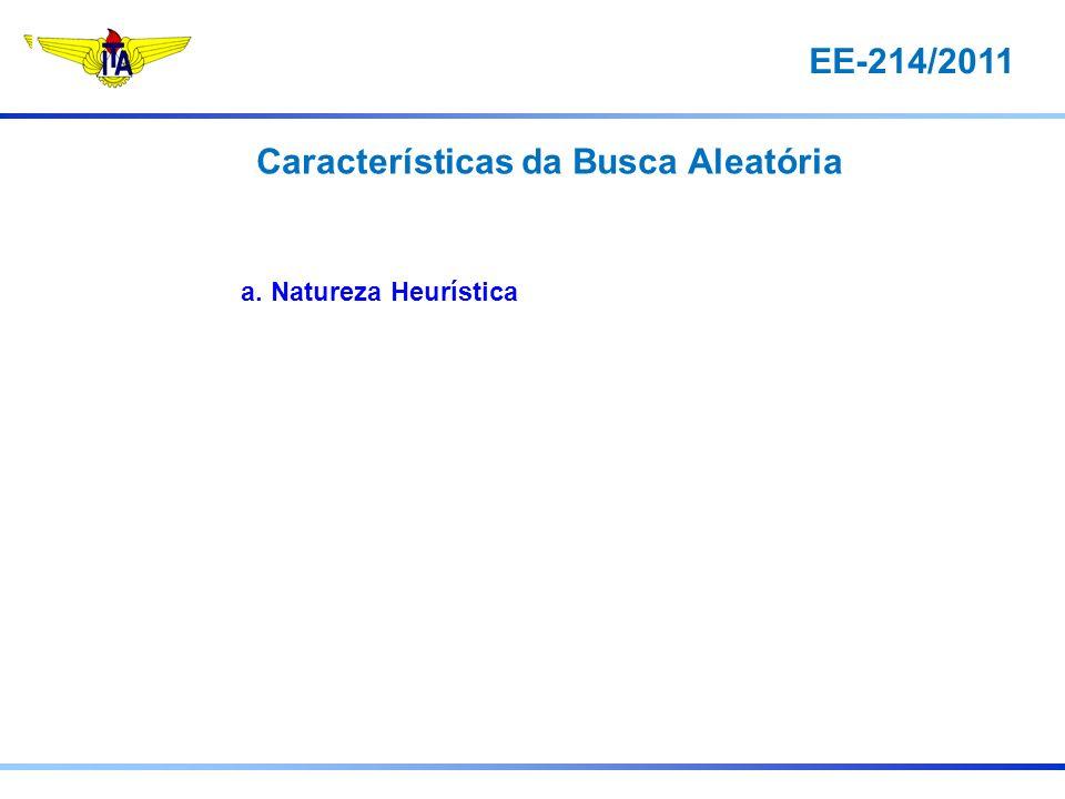 EE-214/2011 a. Natureza Heurística Características da Busca Aleatória