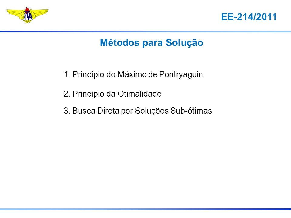 EE-214/2011 Métodos para Solução 1. Princípio do Máximo de Pontryaguin 2. Princípio da Otimalidade 3. Busca Direta por Soluções Sub-ótimas