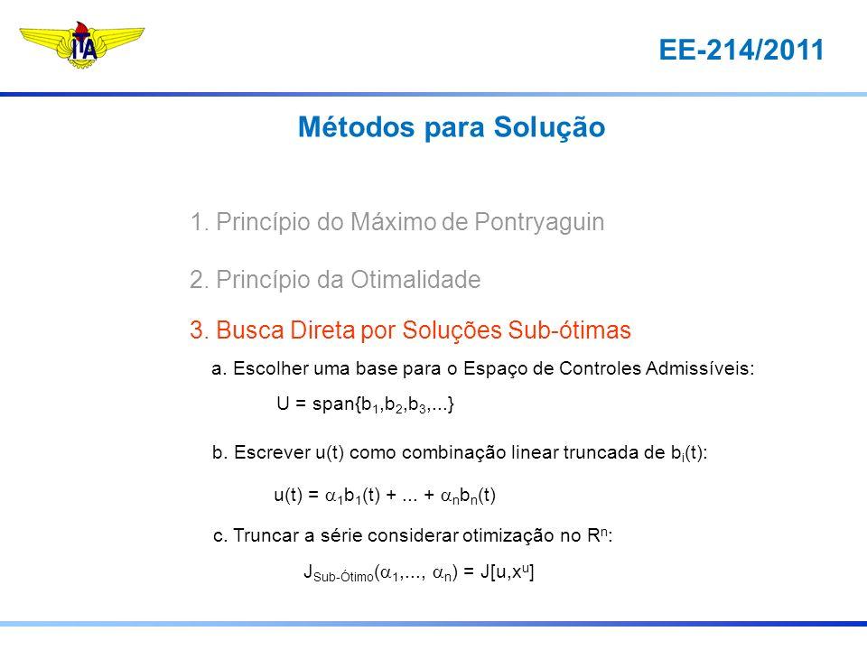 EE-214/2011 1. Princípio do Máximo de Pontryaguin 2. Princípio da Otimalidade 3. Busca Direta por Soluções Sub-ótimas a. Escolher uma base para o Espa
