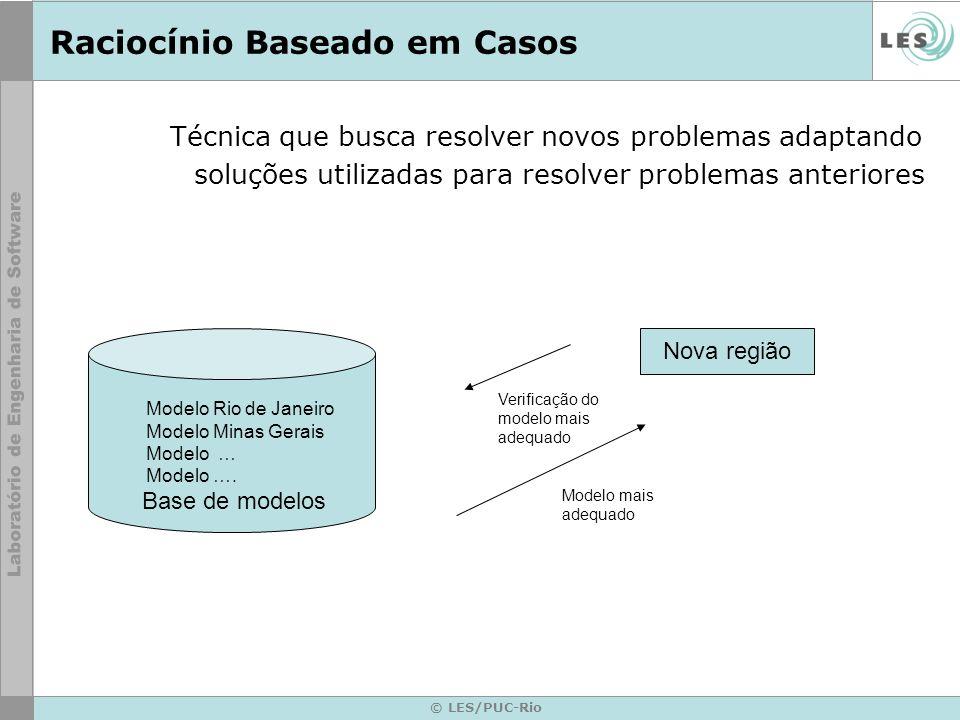 © LES/PUC-Rio Raciocínio Baseado em Casos Técnica que busca resolver novos problemas adaptando soluções utilizadas para resolver problemas anteriores