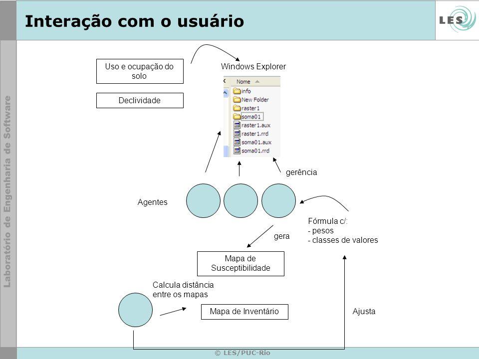 © LES/PUC-Rio Interação com o usuário Uso e ocupação do solo Declividade Windows Explorer Agentes gerência Mapa de Susceptibilidade gera Mapa de Inven