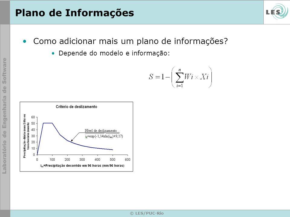 © LES/PUC-Rio Plano de Informações Como adicionar mais um plano de informações? Depende do modelo e informação: