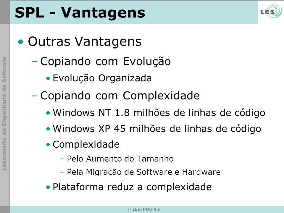 © LES/PUC-Rio SPL - Vantagens Outras Vantagens –Copiando com Evolução Evolução Organizada –Copiando com Complexidade Windows NT 1.8 milhões de linhas