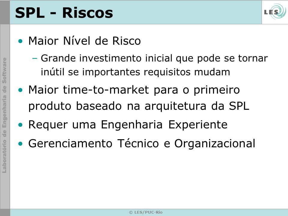 © LES/PUC-Rio SPL - Riscos Maior Nível de Risco –Grande investimento inicial que pode se tornar inútil se importantes requisitos mudam Maior time-to-m