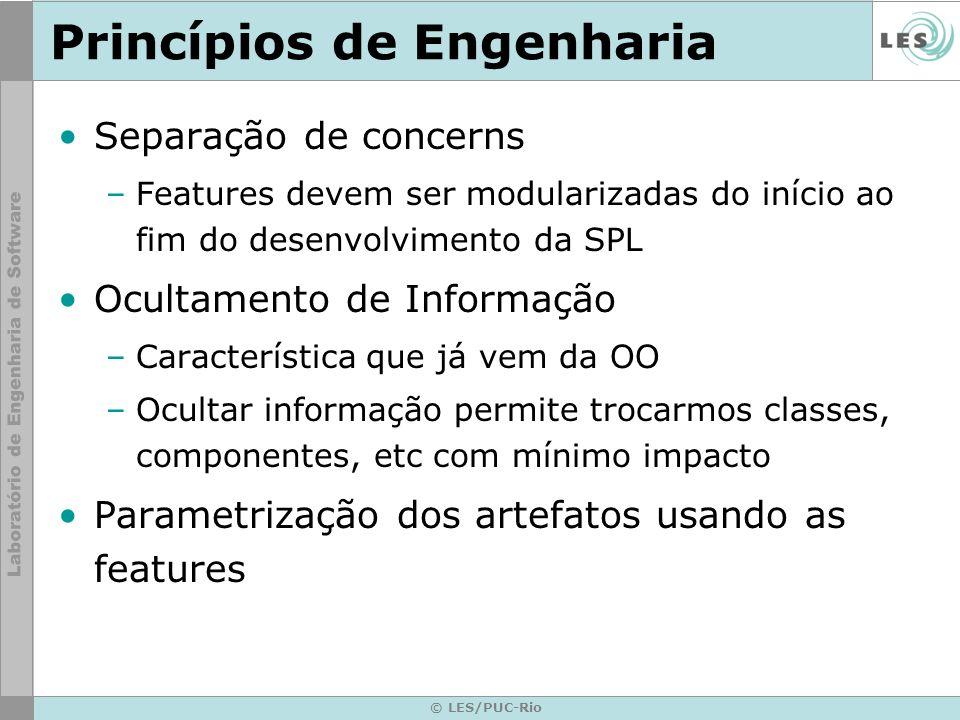 © LES/PUC-Rio Princípios de Engenharia Separação de concerns –Features devem ser modularizadas do início ao fim do desenvolvimento da SPL Ocultamento