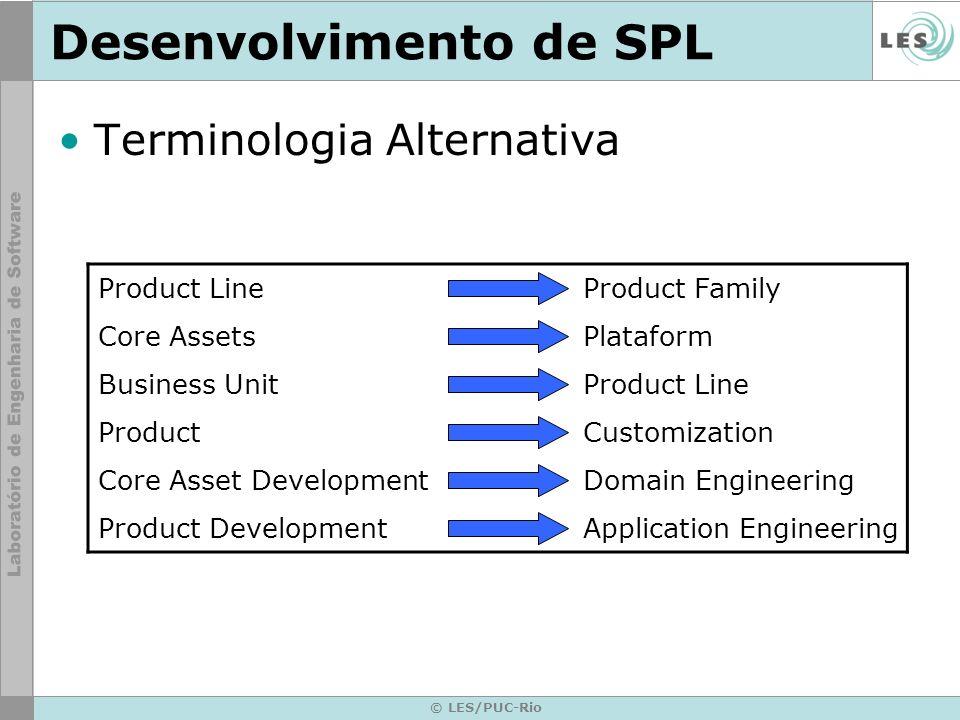 © LES/PUC-Rio Desenvolvimento de SPL Terminologia Alternativa Product LineProduct Family Core AssetsPlataform Business UnitProduct Line ProductCustomi