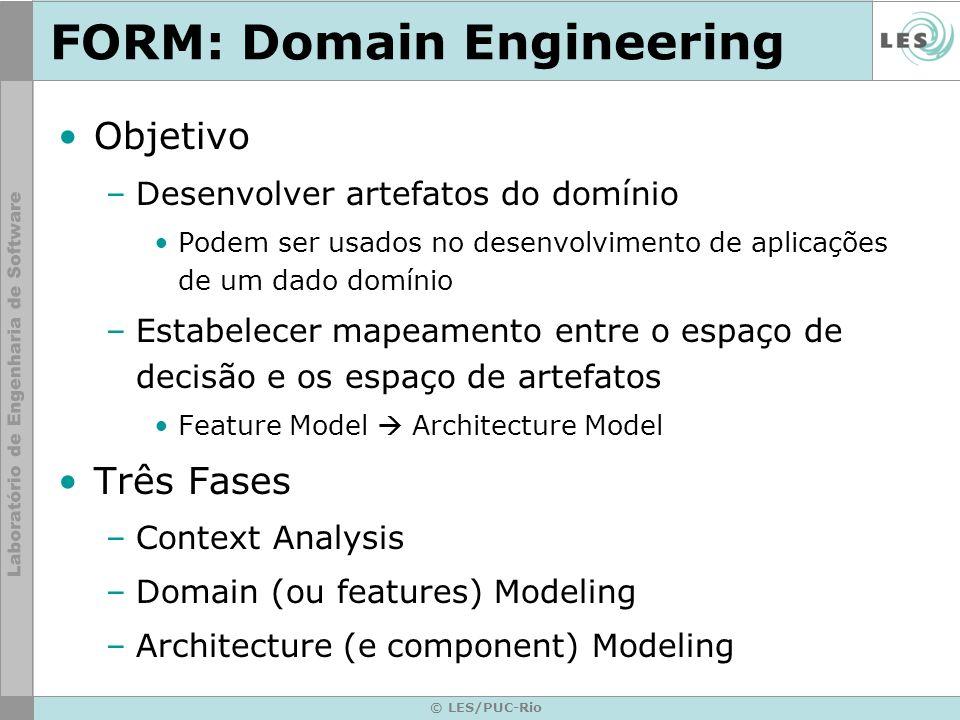 © LES/PUC-Rio FORM: Domain Engineering Objetivo –Desenvolver artefatos do domínio Podem ser usados no desenvolvimento de aplicações de um dado domínio