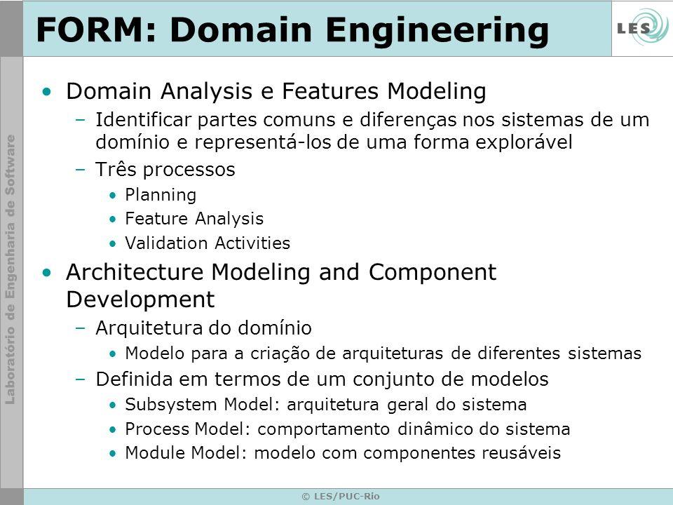 © LES/PUC-Rio FORM: Domain Engineering Domain Analysis e Features Modeling –Identificar partes comuns e diferenças nos sistemas de um domínio e repres
