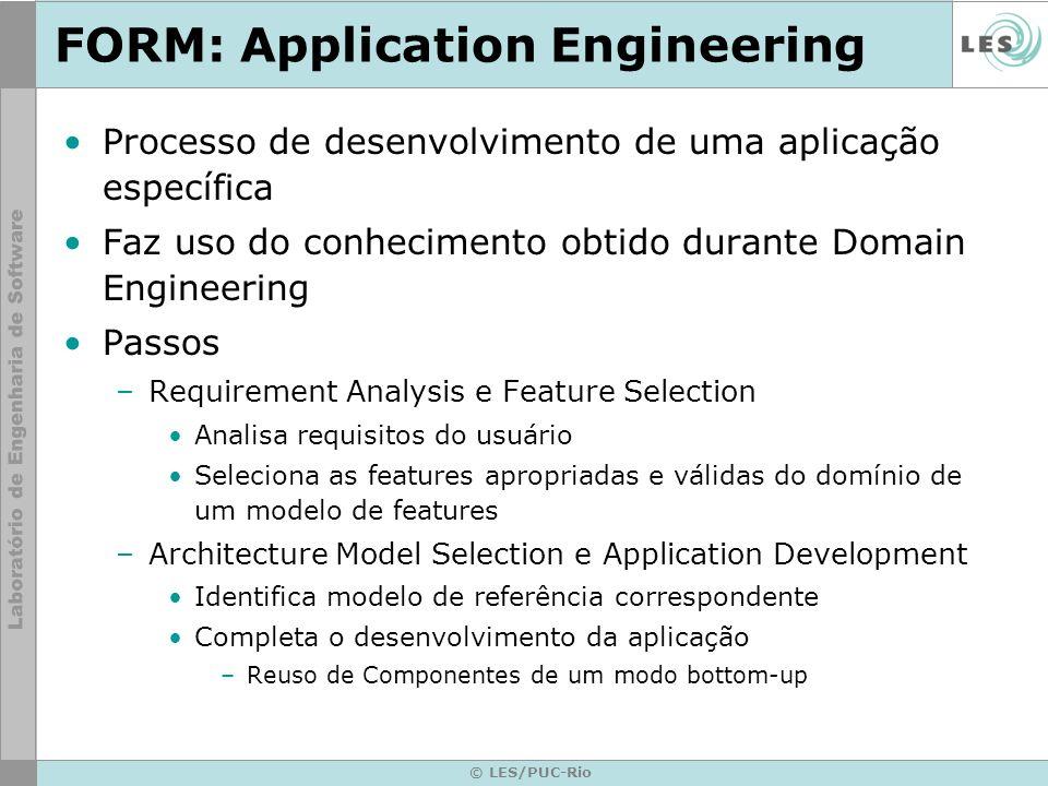 © LES/PUC-Rio FORM: Application Engineering Processo de desenvolvimento de uma aplicação específica Faz uso do conhecimento obtido durante Domain Engi