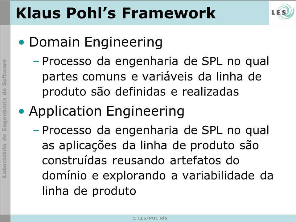 © LES/PUC-Rio Klaus Pohls Framework Domain Engineering –Processo da engenharia de SPL no qual partes comuns e variáveis da linha de produto são defini