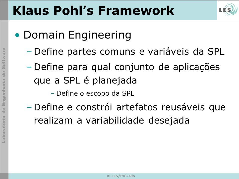 © LES/PUC-Rio Klaus Pohls Framework Domain Engineering –Define partes comuns e variáveis da SPL –Define para qual conjunto de aplicações que a SPL é p