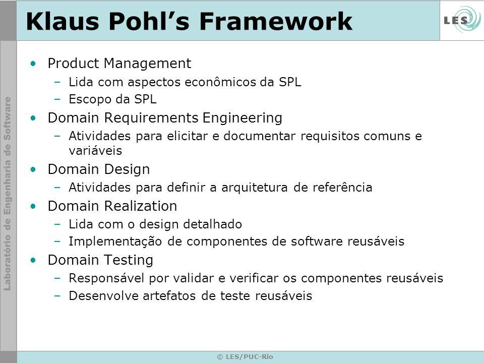 © LES/PUC-Rio Klaus Pohls Framework Product Management –Lida com aspectos econômicos da SPL –Escopo da SPL Domain Requirements Engineering –Atividades