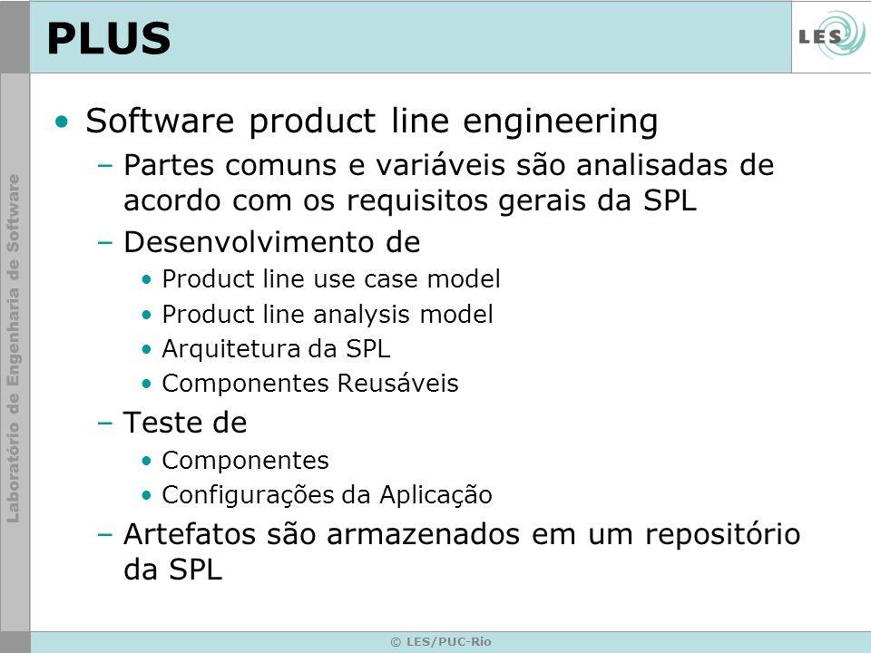 © LES/PUC-Rio PLUS Software product line engineering –Partes comuns e variáveis são analisadas de acordo com os requisitos gerais da SPL –Desenvolvime