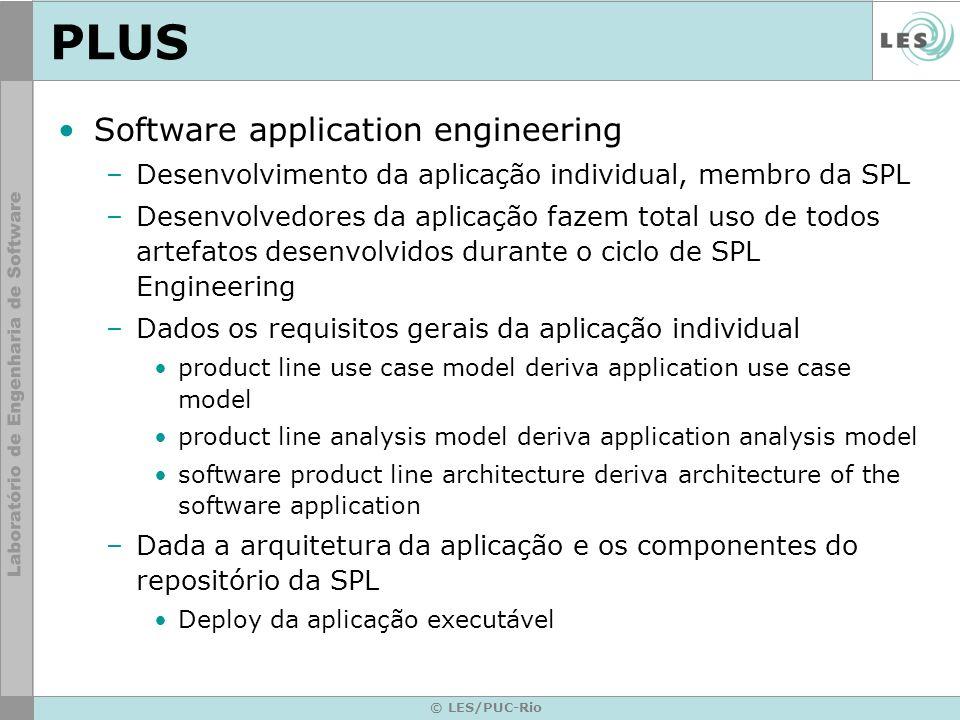 © LES/PUC-Rio PLUS Software application engineering –Desenvolvimento da aplicação individual, membro da SPL –Desenvolvedores da aplicação fazem total