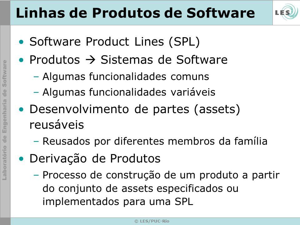 © LES/PUC-Rio Linhas de Produtos de Software Software Product Lines (SPL) Produtos Sistemas de Software –Algumas funcionalidades comuns –Algumas funci