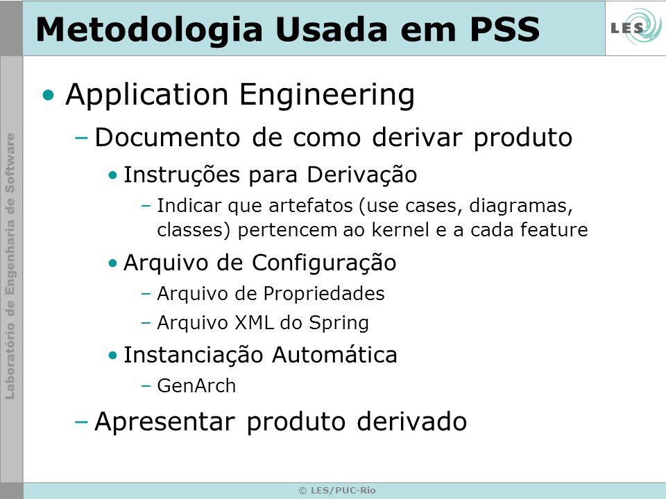 © LES/PUC-Rio Metodologia Usada em PSS Application Engineering –Documento de como derivar produto Instruções para Derivação –Indicar que artefatos (us