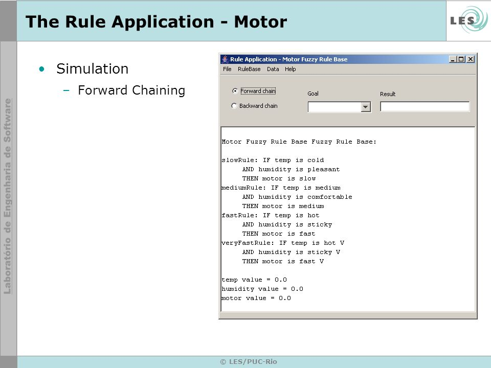 © LES/PUC-Rio The Rule Application - Motor Simulation –Forward Chaining