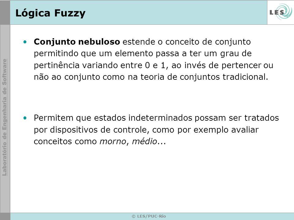 © LES/PUC-Rio Lógica Fuzzy O raciocínio fuzzy também é conhecido como raciocínio aproximado e pode ser dividido em 5 etapas.