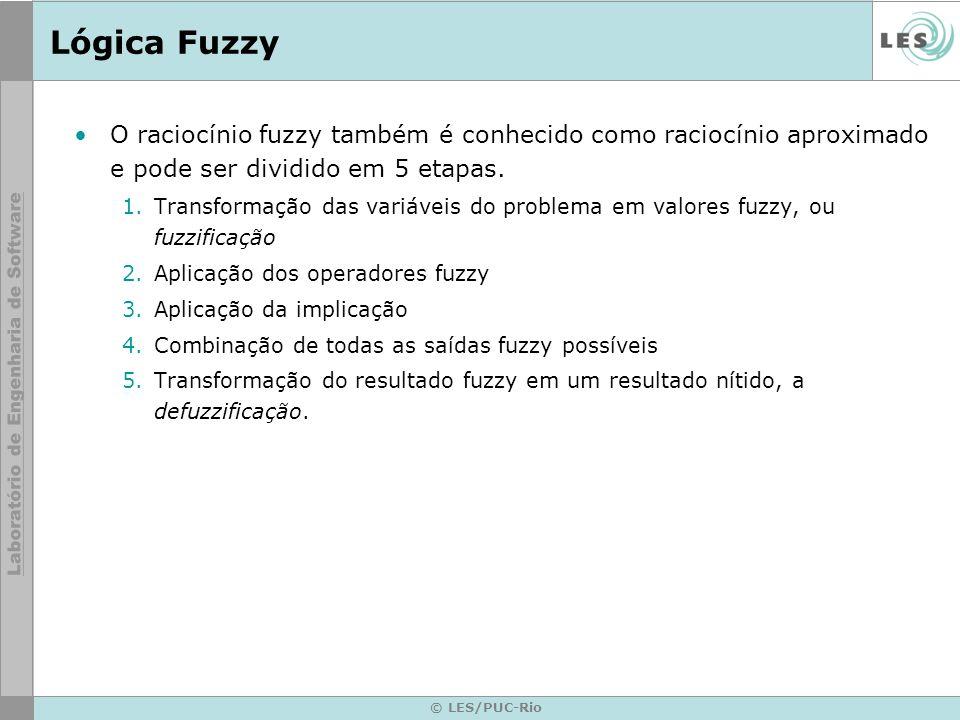 © LES/PUC-Rio Lógica Fuzzy Passo 1: Transformação das variáveis do problema em valores fuzzy, ou fuzzificação –para cada valor de entrada associamos uma função de pertinência, que permite obter o grau de verdade da proposição.