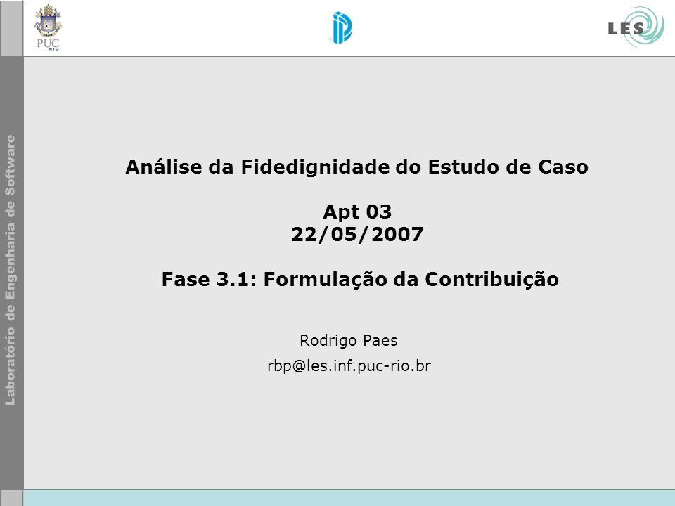 Análise da Fidedignidade do Estudo de Caso Apt 03 22/05/2007 Fase 3.1: Formulação da Contribuição Rodrigo Paes rbp@les.inf.puc-rio.br