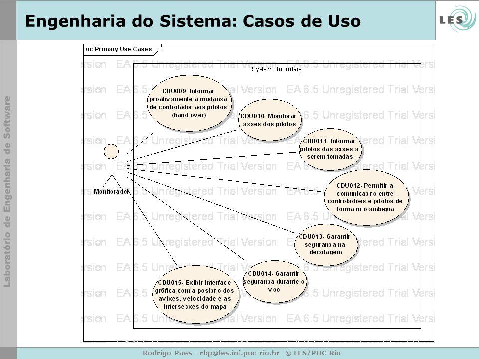 Rodrigo Paes - rbp@les.inf.puc-rio.br © LES/PUC-Rio Engenharia do Sistema: Casos de Uso