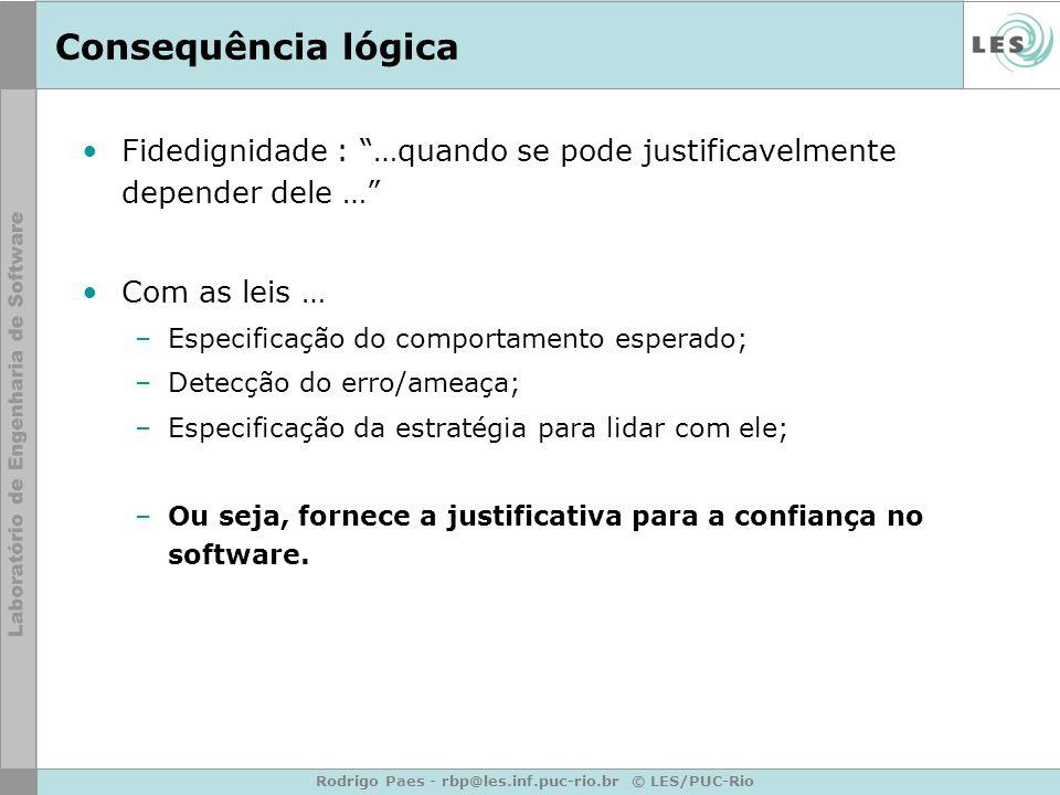 Rodrigo Paes - rbp@les.inf.puc-rio.br © LES/PUC-Rio Consequência lógica Fidedignidade : …quando se pode justificavelmente depender dele … Com as leis