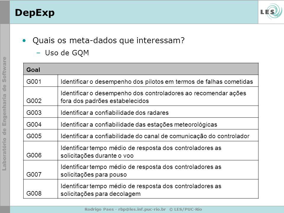 Rodrigo Paes - rbp@les.inf.puc-rio.br © LES/PUC-Rio DepExp Quais os meta-dados que interessam? –Uso de GQM Goal G001Identificar o desempenho dos pilot
