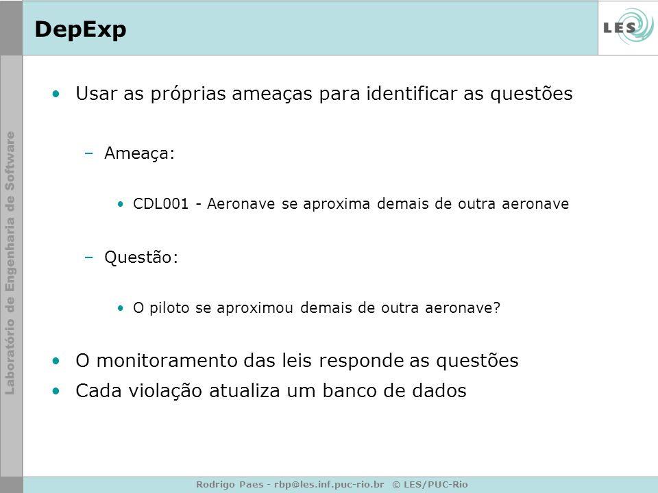 Rodrigo Paes - rbp@les.inf.puc-rio.br © LES/PUC-Rio DepExp Usar as próprias ameaças para identificar as questões –Ameaça: CDL001 - Aeronave se aproxim