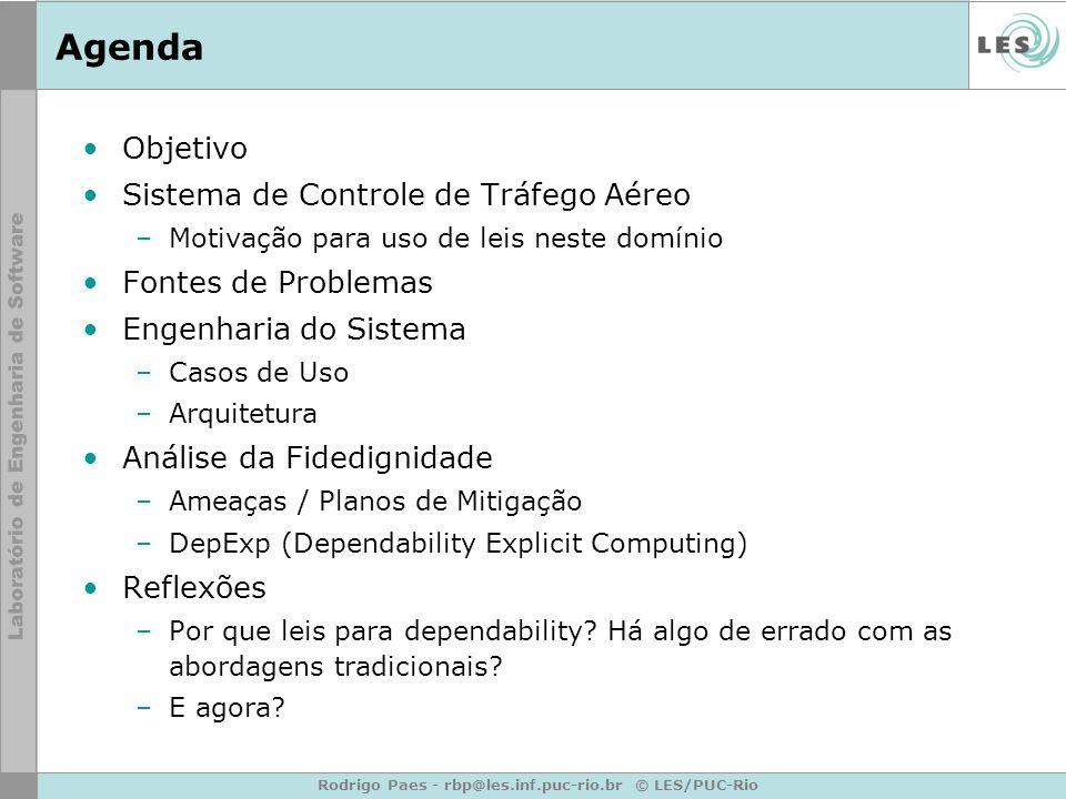 Rodrigo Paes - rbp@les.inf.puc-rio.br © LES/PUC-Rio Agenda Objetivo Sistema de Controle de Tráfego Aéreo –Motivação para uso de leis neste domínio Fon