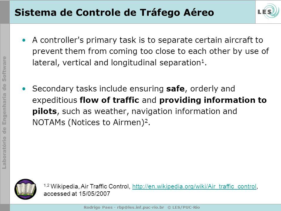 Rodrigo Paes - rbp@les.inf.puc-rio.br © LES/PUC-Rio Sistema de Controle de Tráfego Aéreo A controller's primary task is to separate certain aircraft t