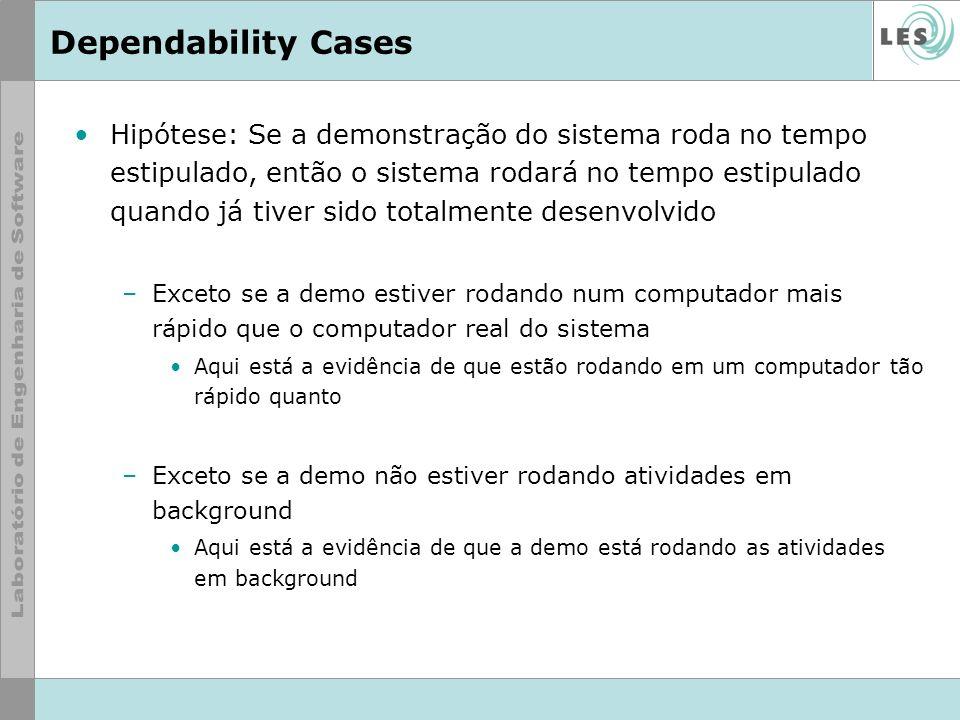 Dependability Cases Hipótese: Se a demonstração do sistema roda no tempo estipulado, então o sistema rodará no tempo estipulado quando já tiver sido t