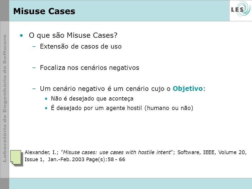 Misuse Cases O que são Misuse Cases? –Extensão de casos de uso –Focaliza nos cenários negativos –Um cenário negativo é um cenário cujo o Objetivo: Não